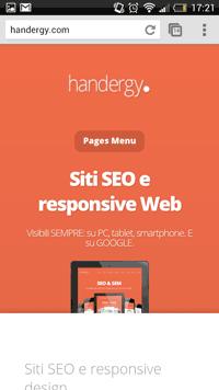 Il responsive design visualizzato su smartphone.